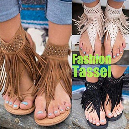 Mr.LQ Sandales À Pampilles Summer Beach Fashion Femmes Cheville Boucle Tongs Black rIV1jwVN