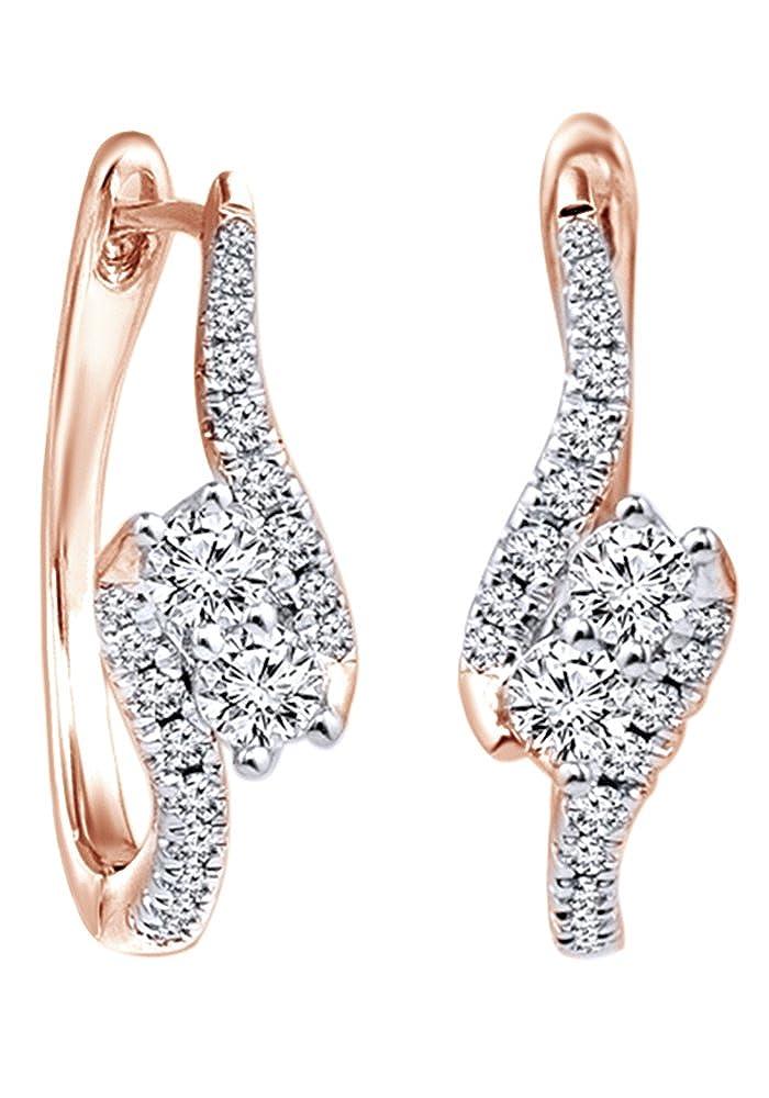 Weißszlig;e, Diamant, Ohrringe in 14 kt 585, Weißszlig;Gold-0.62 cttw 14 Karat RotGold