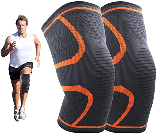 Zhanmai 2 Pairs Sports Knee Pads Elastic Knee Pad Comfortable Knee Sleeves for Volleyball Dance Football Tennis Skating Soccer Yoga Exercise