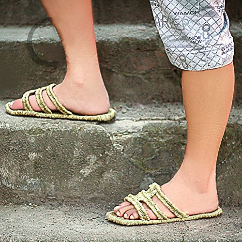 Unisex Coppia Moda Fatta A Mano Scivolo Sandalo Tessuto Lino Lino Pantofola Casual Per Donna Uomo Giallo
