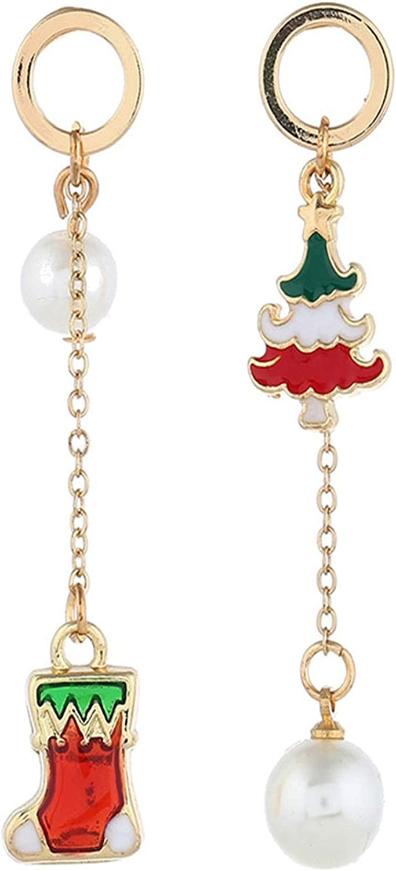 Daesar Pendientes Chapados En Oro Mujer Modernos Árbol de Navidad y Calcetín de Nivadad Perla Pendientes Mujer Rojo Oro