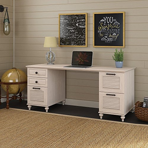 kathy ireland Home by Bush Furniture Volcano Dusk Double Pedestal Desk in Driftwood Dreams