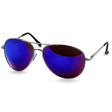 Pilot Silber Spiegel Sonnenbrille Sonnenbrille Schwarzer Rahmen Blaues Objektiv Lj4gv