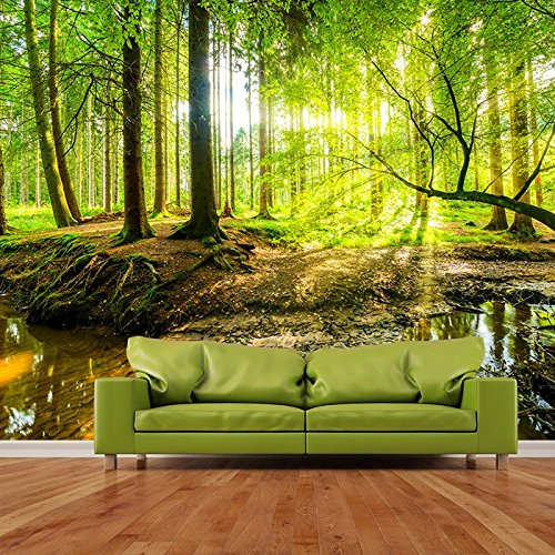 Sonnenlicht scheint durch grüne Bäume Wald Tapete Landschaft Fototapete in 8 Größen erhältlich Extraklein digital