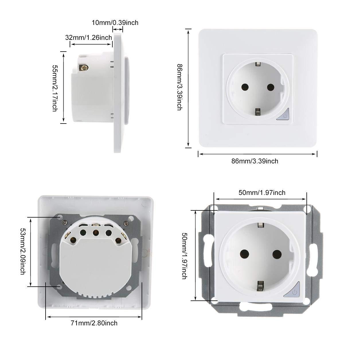Prise De Courant Compatible Avec Alexa Echo et Google Home TEEKAR Double Prise Electrique Murale Intelligente Connect/ée WiFi Cadre Magn/étique Neutre Requis Fonction De Minuteur Contr/ôle /à Distance
