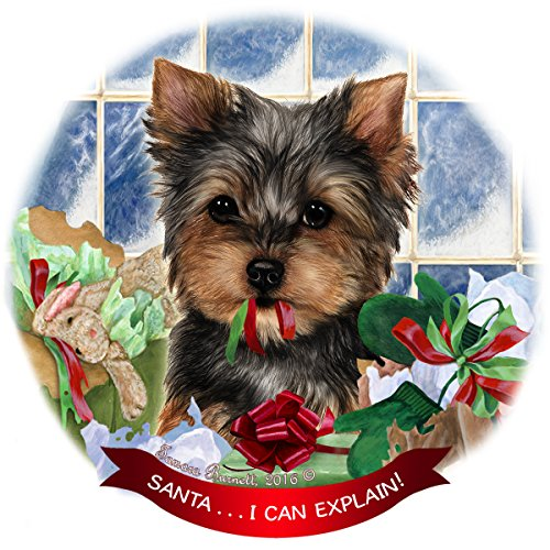 - Yorkshire Terrier Yorkie Dog Porcelain Hanging Ornament Pet Gift 'Santa.. I Can Explain!' for Christmas Tree and Year Round
