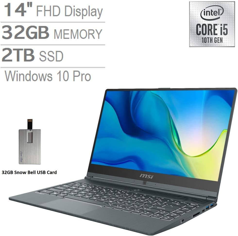 "2020 MSI Modern 14"" FHD Laptop Computer, 10th Gen Intel Core i5-10210U, 32GB RAM, 2TB PCIe SSD, Intel UHD Graphics, Backlit Keyboard, HD Webcam, USB-C, Win 10 Pro, Gray, 32GB Snow Bell USB Card"