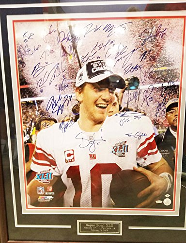 2007 Super Bowl XLII N.Y. Giants Team-Signed Photo Display - 34 Incl. Eli Manning, Michael Strahan etc.