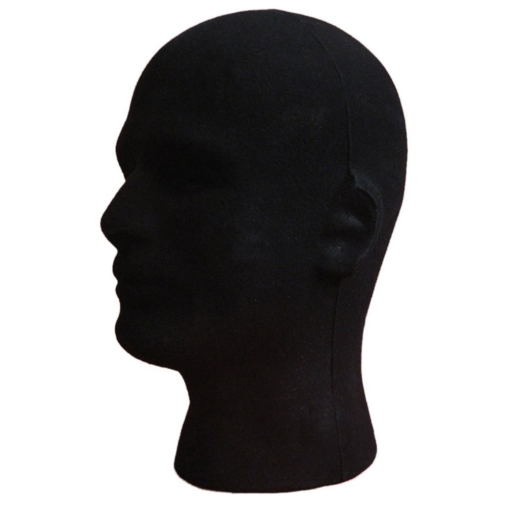 Black Male Foam Mannequin Head Model Flocking Head Model Headset Hats Jewelry Glasses Wig Display Stand