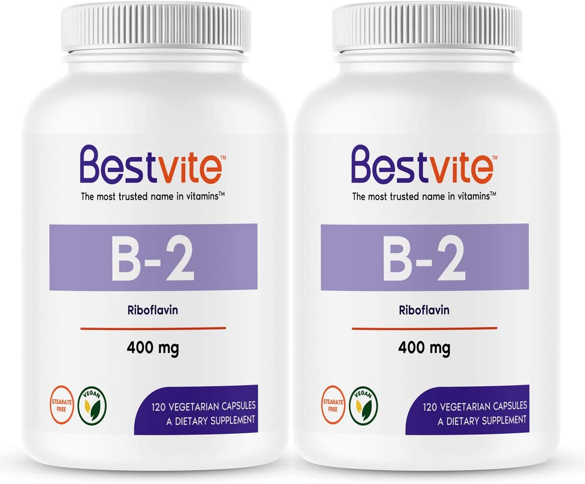 Vitamin B-2 (Riboflavin) 400mg (240 Vegetarian Capsules) (120 x 2) - No Stearates - Vegan - Non GMO - Gluten Free