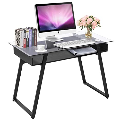 new product 2e13e 3b6c8 Tangkula Computer Desk Home Office Glass Top Wooden with Storage Shelf  Laptop PC Desk Work Sturdy Writing Table Workstation 43.5''L x 21.5''W x  29''H ...