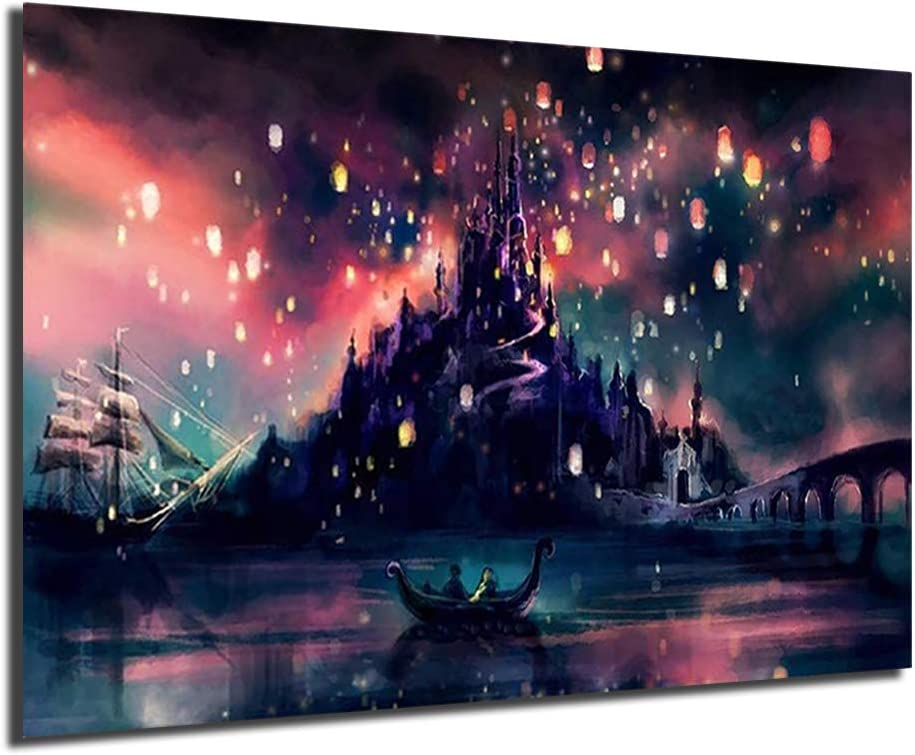Amazon Com Tangled Floating Lanterns Nordic Style Poster Print Minimalist Wall Art Canvas Painting Landscape Picture Home Decor No Framed 20x30inch Posters Prints