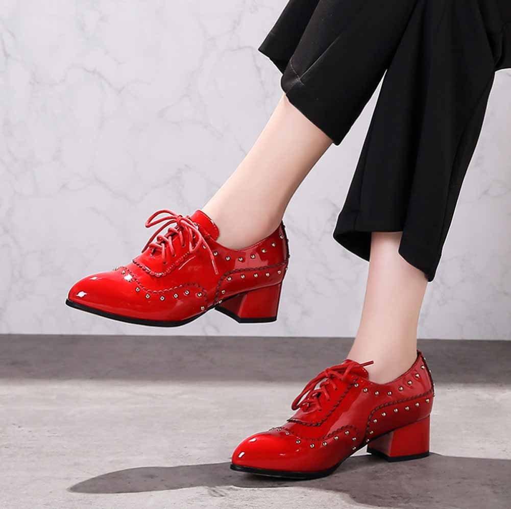 Scarpe da donna con rivetti a punta in pelle 2018 2018 pelle Nuove scarpe da sposa con brogue e pizzo Colore : Rosso, Dimensione : 43) Rosso 7c48c4