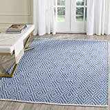 Safavieh Montauk Collection MTK811B Handmade Flatweave Blue and Ivory Cotton Area Rug (5' x 7')
