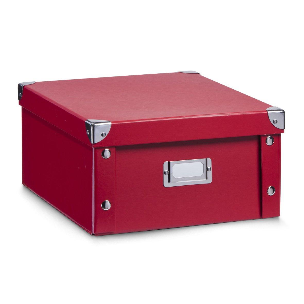 Zeller 17917 Caja de almacenaje de cartón Rojo (Rot) 31 x 26 x 14 cm: Amazon.es: Hogar
