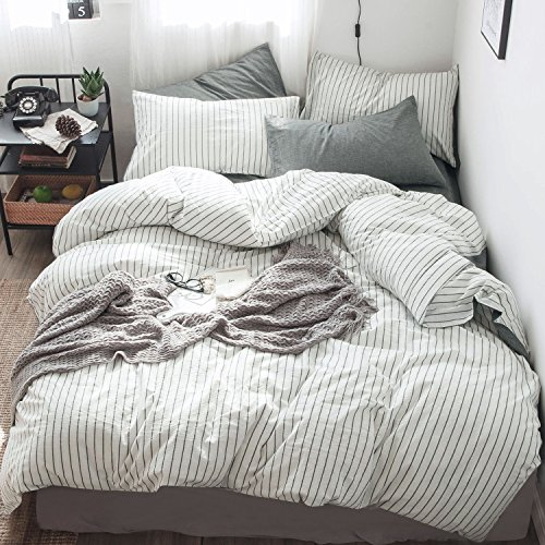 MooMee Beddding Duvet Cover Set 100% Washed Cotton Linen Like Textured Breathable Durable Soft Comfy (3pcs, White&Black Stripe, Queen)