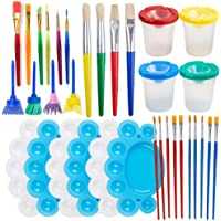Painting Tool Kits, 34Pcs Paint Supplies Include Paint Cups with Lids Palette Tray Muti Sizes Paint Pen Brushes Set for…