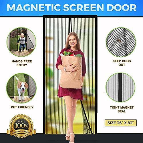 """Screen Door Magnetic Screen Door Full Frame Magnetic Screen Door with Heavy Duty Mesh Curtain Fits Door Sizes Up To 36""""x83"""" Bugs Out Screen Door Insect Out Screen Door Magnetic Door Screen"""