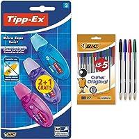 BIC Tipp-Ex Micro Tape Twist Cinta Correctora Blanca 8 m x 5 mm – Colores Surtidos, Blíster de 2+ 1 Unidades + Cristal…