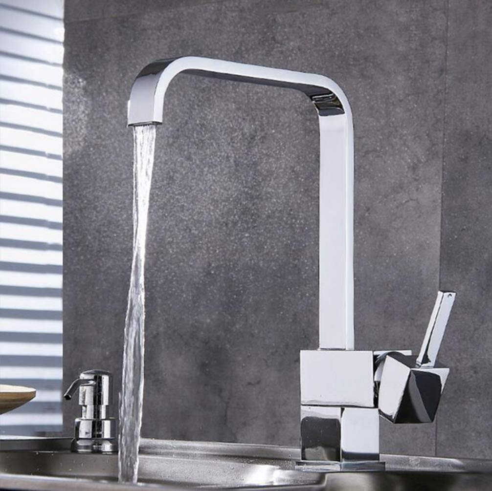 Chrome 4 FZHLR Kitchen Faucet Chrome Brass Deck Kitchen Sinks Faucet High Arch 360 Degree redating Swivel Cold Hot Mixer Water Tap,Chrome 3