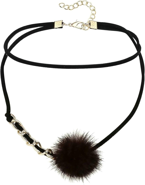 AnazoZ Collar Dos Capas con Bola de Pelo Barra Larga Colgante de Acero Inoxidable Mujer Collar Gris/Negro Oro