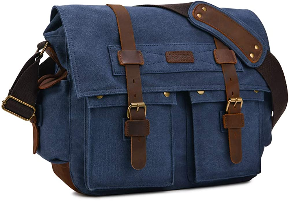 Kattee Military Messenger Bag Canvas Leather Shoulder Bag Fits 14.7/15.6 Inch Laptop