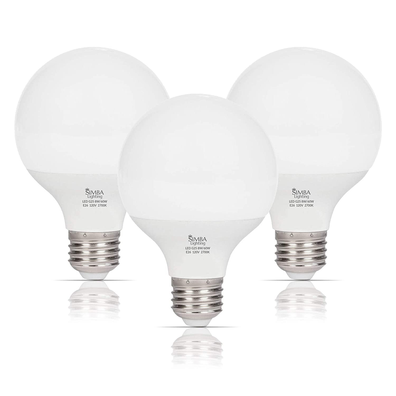 Simba Lighting LED Vanity Globe G25 (G80) Light Bulb for Bathroom, Makeup Mirror | Decorative White Frosted Cover, 8W, 60W Equivalent, 120V, Standard E26 Medium Base, Warm White 2700K, Pack of 3