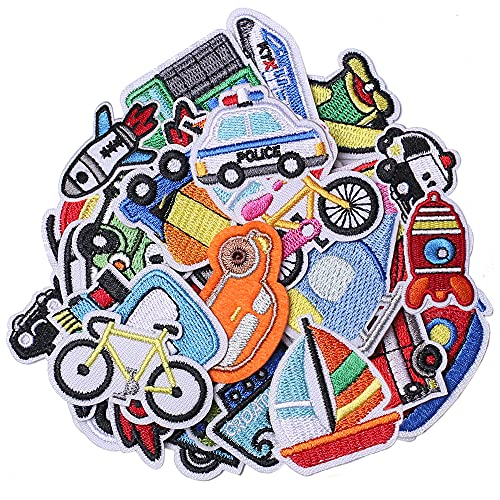 TACVEL 30Pcs Car Iron on Patches for Kids Clothing, Traffic Theme Embroidered DIY Sew on Patches for Jackets, Backpacks, Caps, Jeans to Decorate Clothes