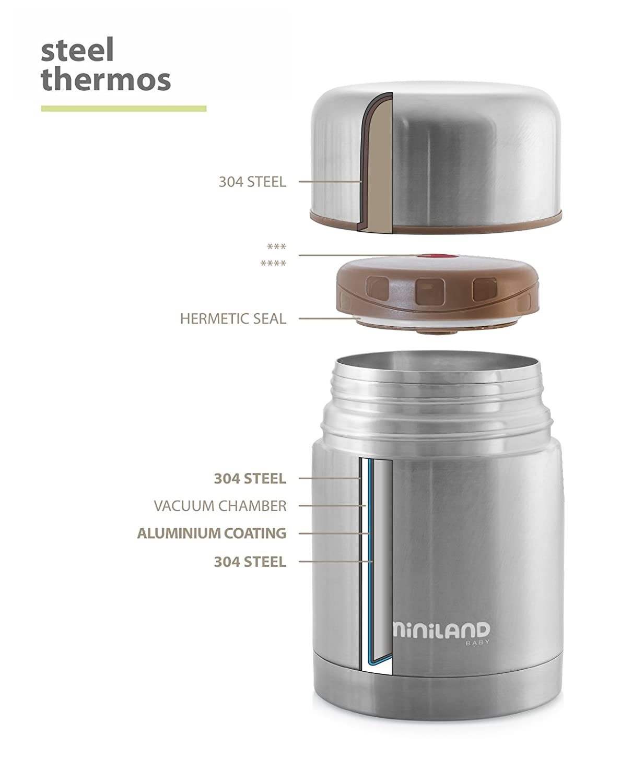 Termo de L/íquidos y Termo de S/ólidos Steel de 500 y 600 ml. Pack de Termos Miniland