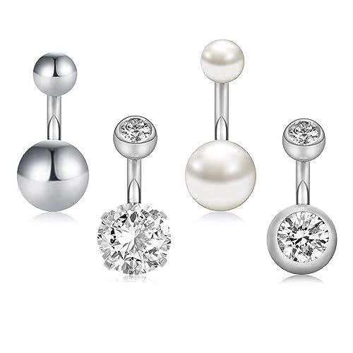 Bauchnabelpiercing Navel Ring 2 Steine Piercing 1,6mm  verschiedene Stablängen