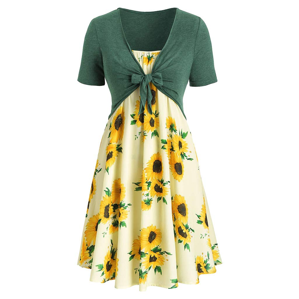 LYN Star Women's Short Sleeved Long Dress Sunflower Print Long Dress with T Shirt Bandage Green