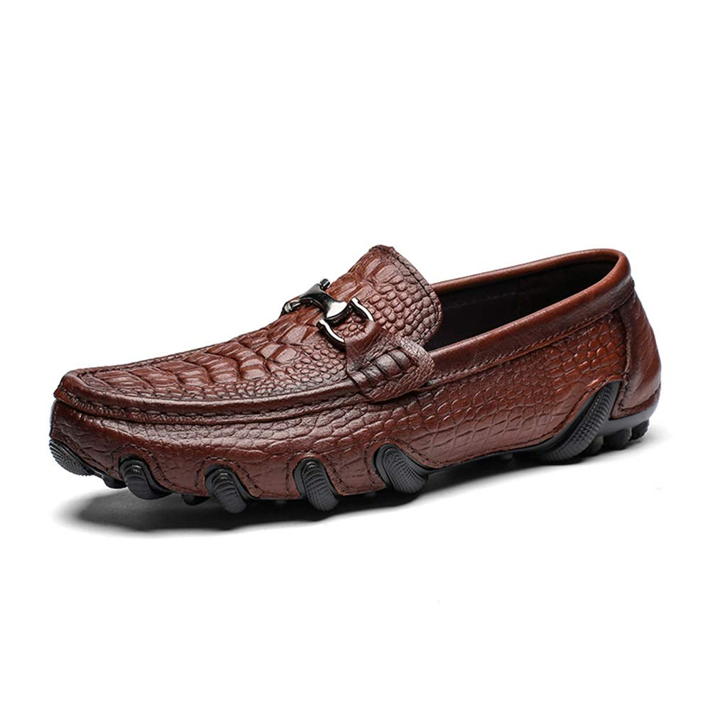 Männer weiche Schuhe aus echtem Leder Fahren Schuhe Casual Klassische krokodil Druck Penny Loafers Metall Rutschfeste runde zehe Slip auf,Grille Schuhe (Farbe   Schwarz, Größe   45 EU)  | Hochwertige Produkte