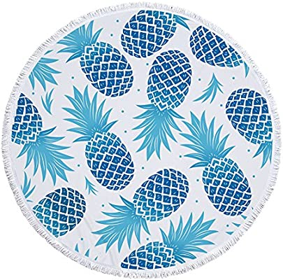 Bunter Piña fruta Impresión Toalla redondo con borlas Verano Playa enfriador redondo techo grande circular Matte Flecos playa roundie circular, ...