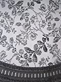 Floral Round Cotton Tablecloth 88'' Gray on White