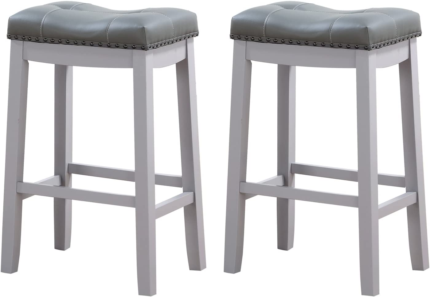 Angel Line Cambridge Bar Stools, 29 Set of 2, Gray Cushion