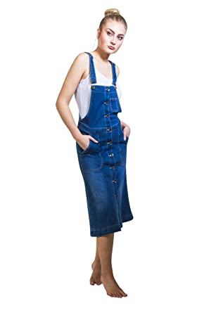 908f3b58151b My Christy Button Front Denim Dungaree Dress Flared Bib Overall Pinafore  Verona: Amazon.co.uk: Clothing