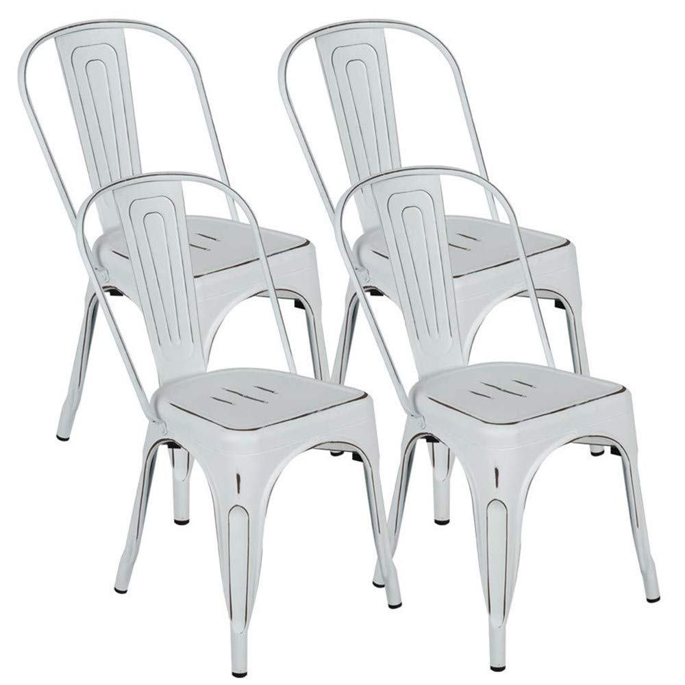 BONZY HOME Metal Dining Chairs Distressed Industrial Style, Stackable Kitchen Chairs with Back, Indoor Outdoor Use Chair for Farmhouse, Patio, Cafe, Restaurant, Set of 4 Distressed White