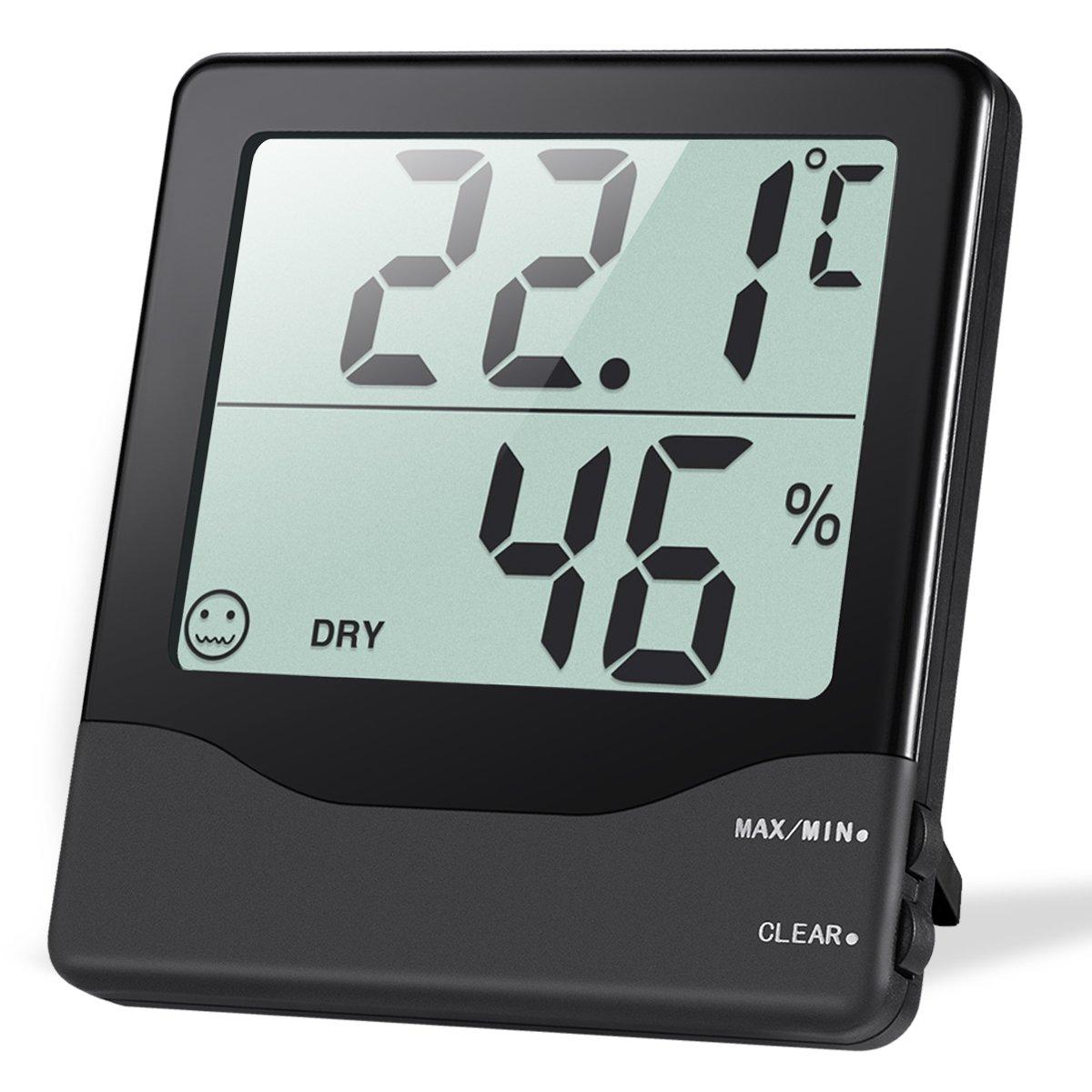 Oria Termómetro Higrómetro Digital, Termohigrómetro Interior Medidor Temperatura y Humedad con Gran LCD Pantalla, Icono de Nivel de Comodidad, ...