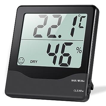 Oria Termómetro Higrómetro Digital, Termohigrómetro Interior Medidor Temperatura y Humedad con Gran LCD Pantalla,