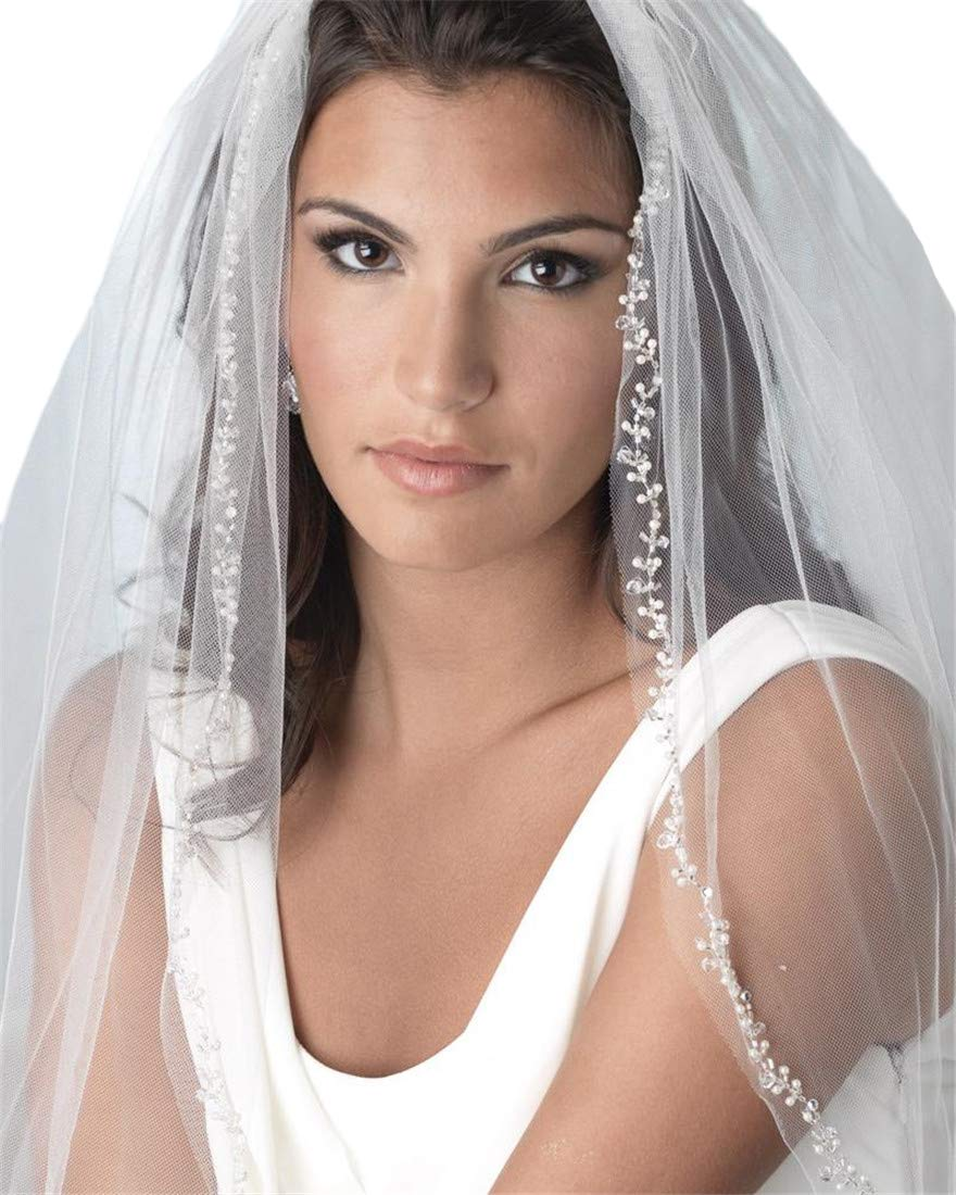 Passat Ivory Fingertip 1 Tiers beaded wedding veils With Crystal Bridal veils With Comb H72