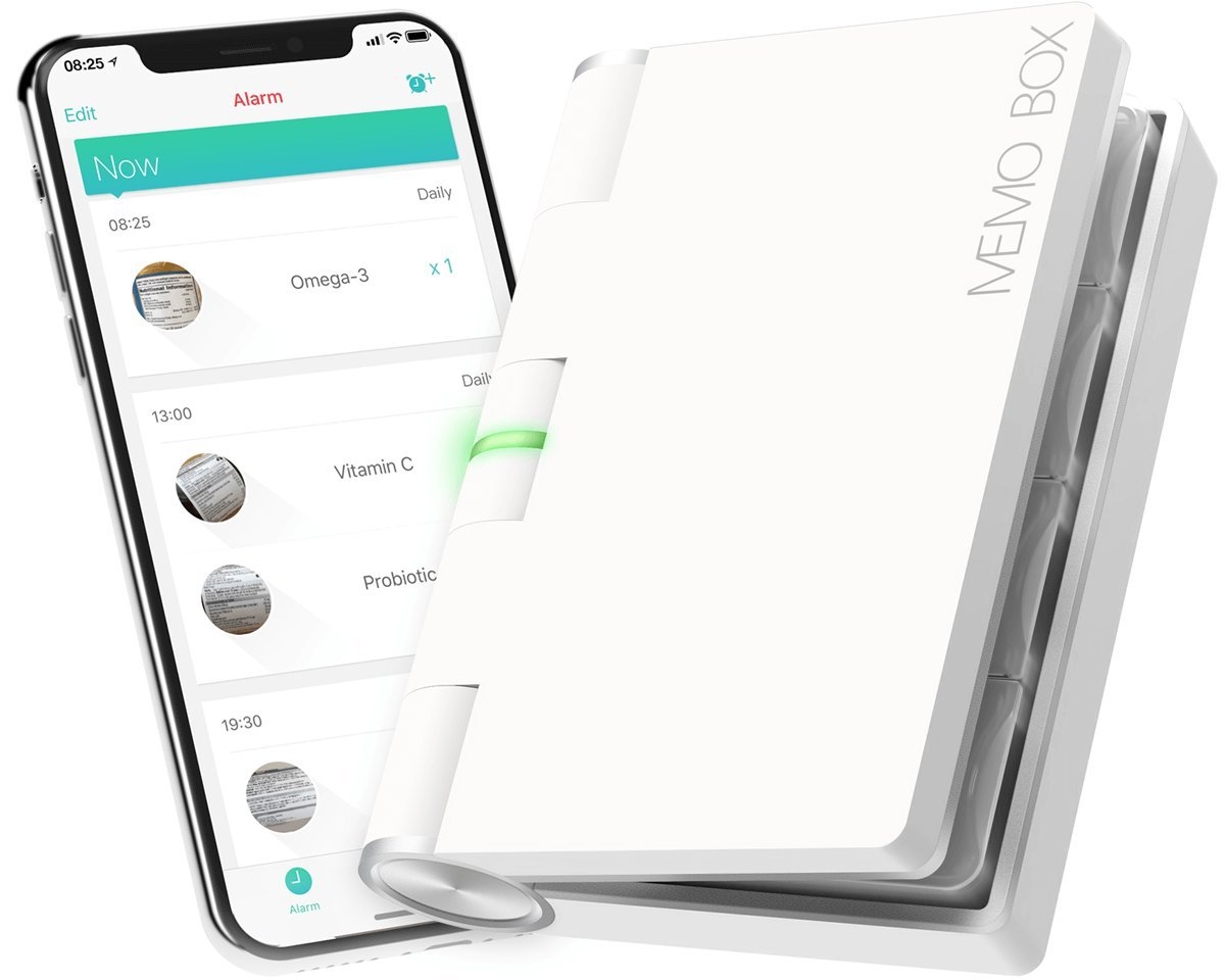 Memo Box Bluetooth Electronic Pill Organizer and APP, Visual Audio Smart Pill Reminder Alarm, Customizable Daily or Weekly Pill Box, Automatic Medication Records Tracking and Family Meds Notification by Memo Box