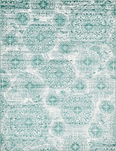 (Unique Loom 3138686 Sofia Collection Traditional Vintage Beige Area Rug, 9' x 12' Rectangle, Turquoise)