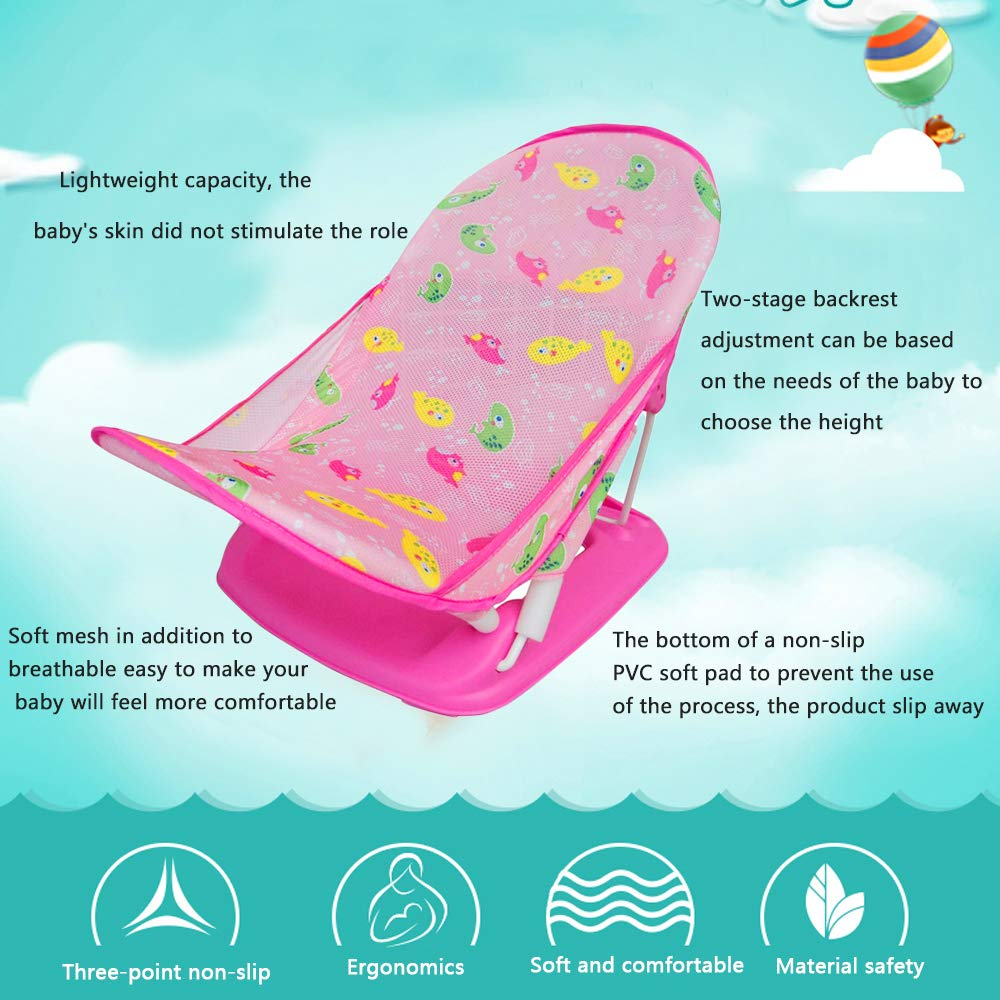 Adjustable Newborn Baby Bath Seat Support Net Summer Shower Net Bathtub Sling Shower Mesh Bathing Cradle Rings Color : Pink