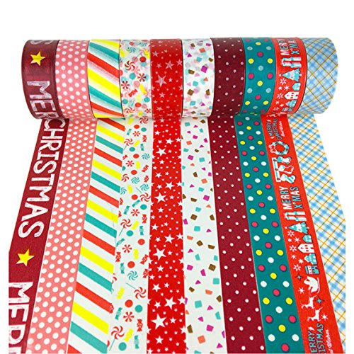 10 PCS Christmas Washi Tapes Rolls of 16.4