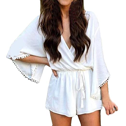 4c3edd2f548e Amazon.com  vermers Summer Women Half Sleeve Jumpsuits Ladies Casual Beach  Trousers Rompers  Clothing