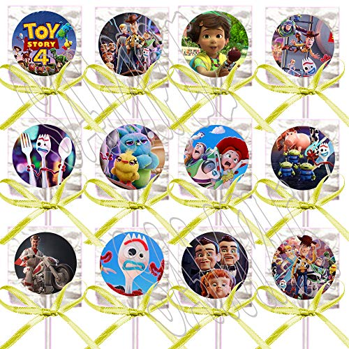 Toy Story 4 Movie Lollipops Party Favors Decorations w/ Yellow Ribbon Bows Party Favors -12 pcs, Forky Duke Caboom Bunny Ducky Woody Buzz Lightyear Bonnie Bo Peep