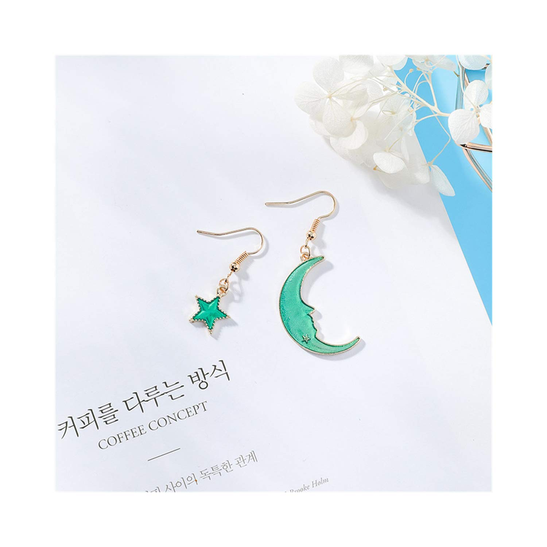 Wecottkerc NEW Creative Blue Universe Asymmetric Earrings For Girl Ear Accessories Cute Moon Star Drop Pendientes Tassel Brincos 3