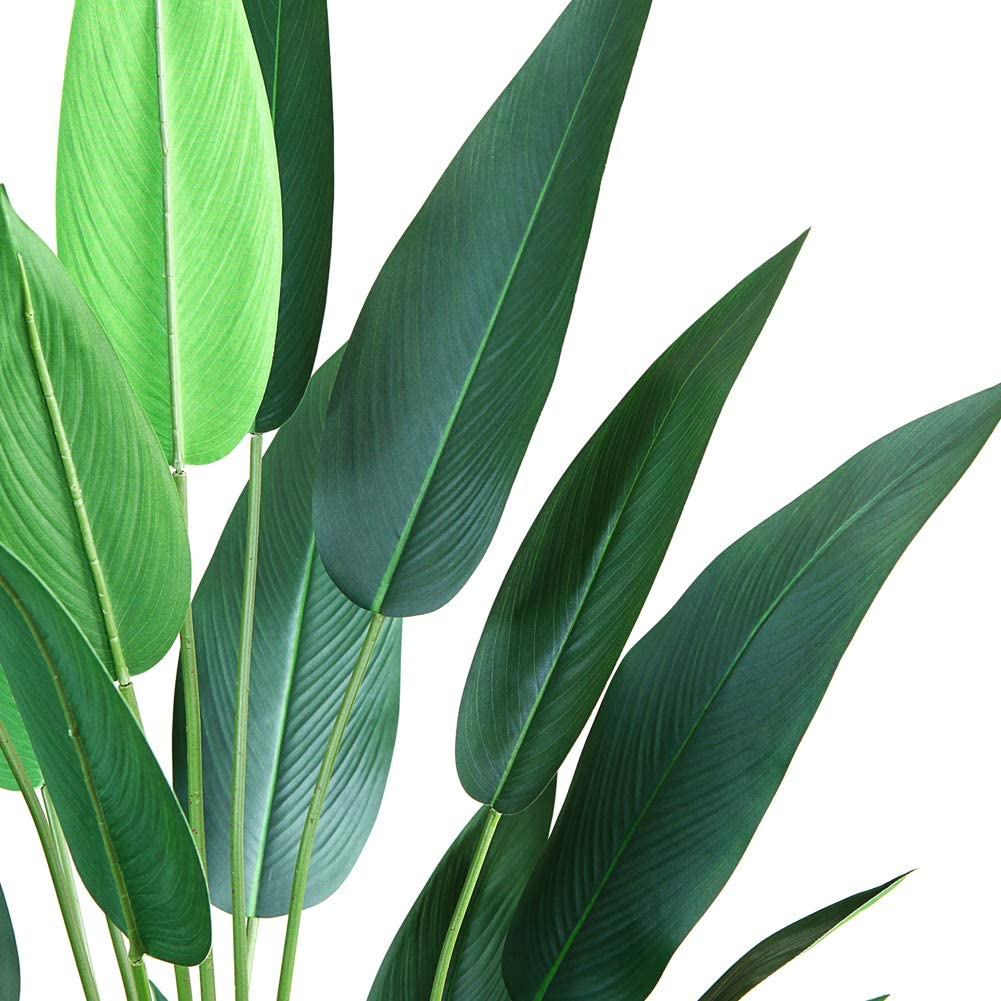 CROSOFMI Artificial Bird of Paradise Plant 4.6Feet Fake Strelitzia with 20 Leaves Faux Strelitzia Nicolai in Pot for Indoor Outdoor House Home Office Modern Decoration Perfect Housewarming Gift