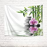 LB Zen Spa Tapestry Wall Hanging,Orchid Stones and Green Bamboo in Water Fabric Meditation Tapestries Wall Decor for Teen Room Dorm Bedroom Living Room,60 W X 40 H INCH(White)