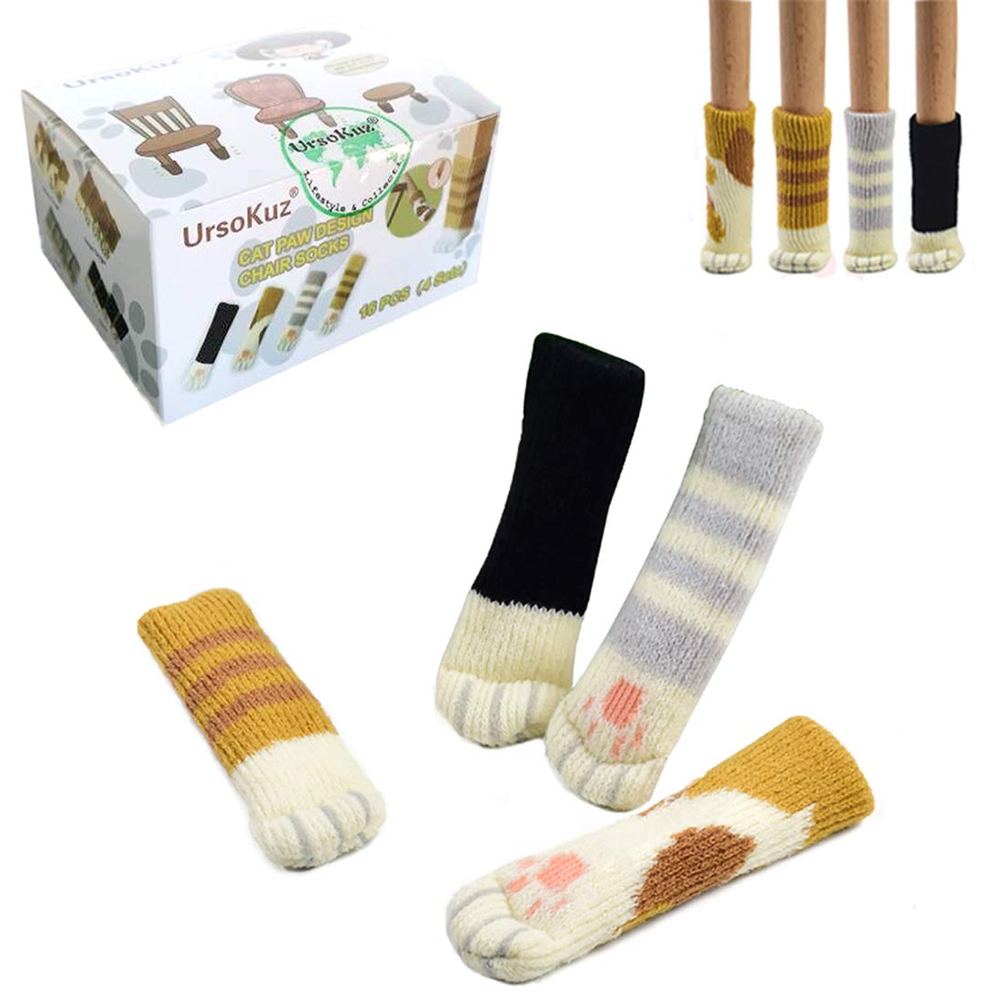 20PCS (5 Sets) Chair Socks Fancy Table Leg Pads with Cute Cat Paws Design, Reliable Furniture and Floor Protector, 4 Different Patterns + 1 Stripe Ginger Pattern - Pack of 20 socks EVER OASIS